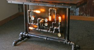 Steampunk Industrial Table / Pipes / Steam Gauge / Barn wood / Table #1468