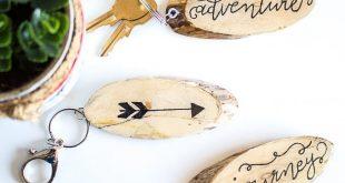 DIY Holz Slice Schlüsselanhänger mit Harz