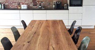 Eichen-Massivholztisch / Tischgestell im Industriedesign #diningtables