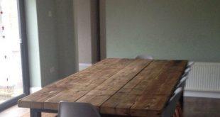 ZurückgewonnenIndustrie Chic 10-12 Sitzer Esstisch - Bar Cafe Restaurant Möbel Stahl Massivholz Metall nach Maß 473