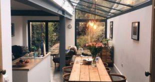 industrielle moderne Küche und Esszimmer mit Deckenfenstern und Holzdetails – # … #WoodWorking